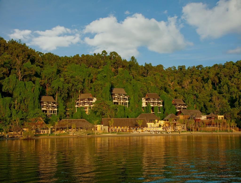Wide shot of Gaya Island Resort