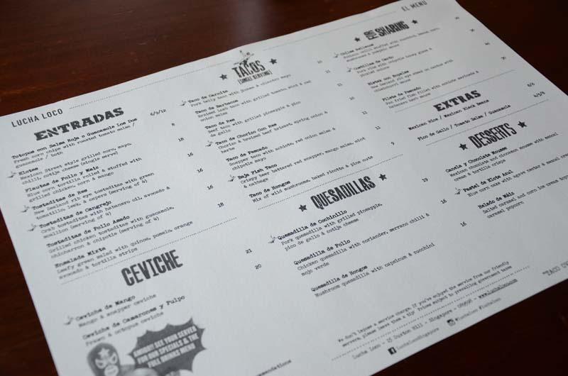 Lucha Loco menu