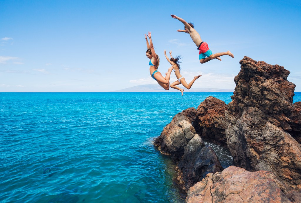 Cliff diving in St. Lucia